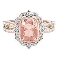 TRULY™ Zac Posen Morganite & 1/2 ct. tw. Diamond Engagement Ring in 14K Rose Gold