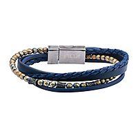 Men's Wrap Bracelet in Blue Leather & Stainless Steel