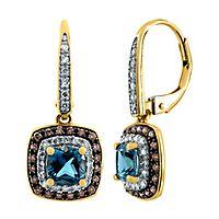 Blue Topaz & 3/8 ct. tw. Champagne & White Diamond Earrings in 10K Yellow Gold