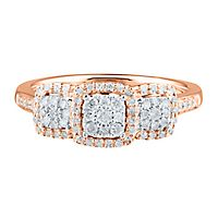 1/3 ct. tw. Diamond Three-Stone Ring in 10K Rose Gold