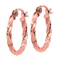 Twisted Hoop Earrings in 14K Rose Gold