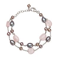 Rose Quartz, Gray & Pink Freshwater Cultured Pearl Bracelet in Sterling Silver