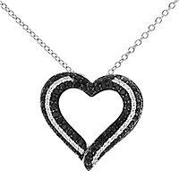 1/3 ct. tw. White & Black Diamond Heart Pendant in Sterling Silver