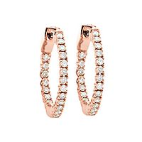 1/2 ct. tw. Diamond Hoop Earrings in 14K Rose Gold