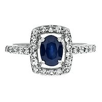 Blue & White Sapphire Ring in Sterling Silver