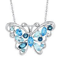 Blue Topaz & Lab-Created White Sapphire Butterfly Pendant in Sterling Silver