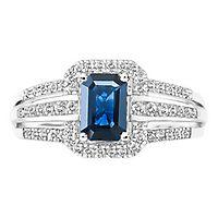 Blue Sapphire & 1/3 ct. tw. Diamond Ring in 14K White Gold