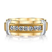 Men's 1/4 ct. tw. Diamond Band in 10K Yellow & White Gold, 13MM