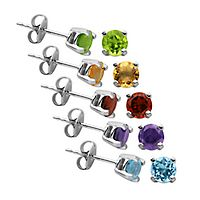 Multi-Gemstone Stud Earring Set in Sterling Silver