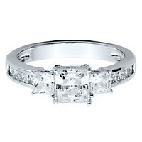 Diamonvita® 1 7/8 ct. tw. Simulated Diamond Three-Stone Ring in Sterling Silver