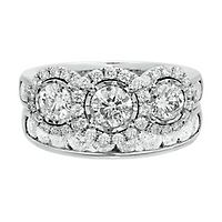 3 ct. tw. Diamond Three-Stone Engagement Ring Set in 14K White Gold