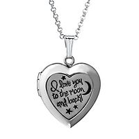 I Love You to the Moon and Back Heart Locket in Sterling Silver