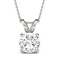 Forever One® 3 ct. tw. Moissanite Solitaire Pendant in 14K White Gold