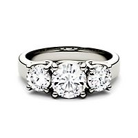 Forever One® 2 ct. tw. Moissanite Three-Stone Ring in 14K White Gold