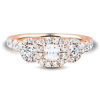 Helzberg Limited Edition® 2 ct. tw. Diamond Three-Stone Ring in 14K Rose Gold