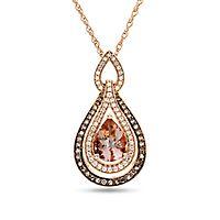 Morganite, 1/3 ct. tw. Champagne & White Diamond Pendant in 10K Rose Gold