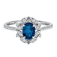 Blue Sapphire & 1/4 ct. tw. Diamond Ring in 10K White Gold