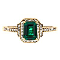 Emerald & 1/5 ct. tw. Diamond Ring in 10K Yellow Gold