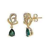 Emerald & Diamond Earrings in 10K Yellow Gold