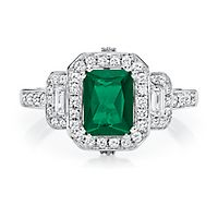 Helzberg Limited Edition® Emerald & 1/2 ct. tw. Diamond Ring in 14K White Gold