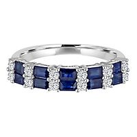 Blue Sapphire & 1/4 ct. tw. Diamond Band in 14K White Gold
