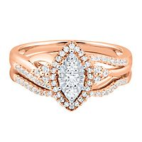 1/3 ct. tw. Multi-Diamond Engagement Ring Set in 10K Rose Gold