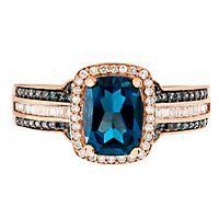 London Blue Topaz & 1/3 ct. tw. White & Blue Diamond Ring in 10K Rose Gold
