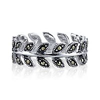 Lab-Created Marcasite Leaf Ring in Sterling Silver