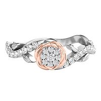 Enchanted Disney 1/4 ct. tw. Diamond Belle Rose Promise Ring in 14K White & Rose Gold