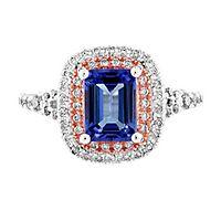 Tanzanite & 1/2 ct. tw. Diamond Ring in 10K White & Rose Gold