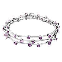 African, Brazilian & Pink Amethyst Bracelet in Sterling Silver