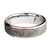 Lashbrook® Men's Edge Band in 14K Rose Gold, Meteorite & Cobalt Chrome, 7MM
