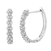1/2 ct. tw. Diamond Hoop Earrings in 10K White Gold