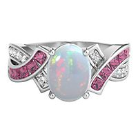 Lab-Created Opal & Lab-Created Pink & White Sapphire Ring in Sterling Silver