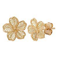 Diamond Cut Flower Stud Earrings in 14K Yellow Gold