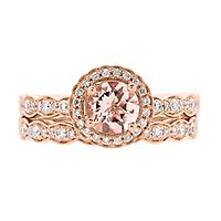 Shades of Love™ Morganite & 1/3 ct. tw. Diamond Ring Set in 14K Rose Gold