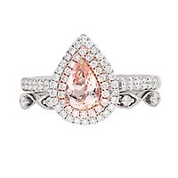 Shades of Love™ Morganite & 1/2 ct. tw. Diamond Ring Set in 14K Rose & White Gold