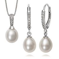 Freshwater Cultured Pearl & White Topaz Pendant & Earring Set in Sterling Silver