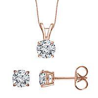 1/2 ct. tw. Diamond Pendant & Earring Set in 10K Rose Gold