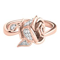 Enchanted Disney 1/10 ct. tw. Diamond Belle Rose Ring in 10K Rose Gold