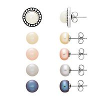 Freshwater Cultured Pearl Earring & Jacket Set in Sterling Silver