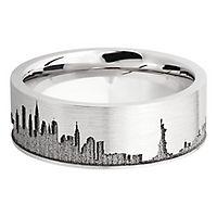 Lashbrook® Men's New York Skyline Band in Cobalt Chrome, 8MM