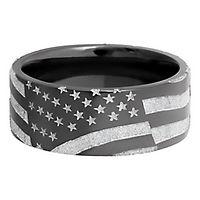 Lashbrook® Men's American Flag Band in Zirconium, 9MM