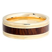Lashbrook® Men's Band in 14K Yellow Gold & Cocobollo Wood, 8MM