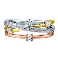 1/4 ct. tw. Diamond Ring in Tricolor 10K Gold