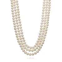Freshwater Cultured Pearl Three-Row Strand Necklace in Sterling Silver