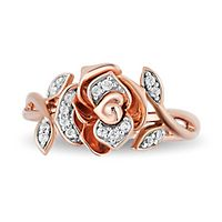 Enchanted Disney Belle 1/10 ct. tw. Diamond Rose Ring in 10K Rose Gold