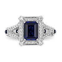 Enchanted Disney Cinderella Sapphire & 1/2 ct. tw. Diamond Ring in 10K White Gold
