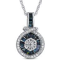 1/2 ct. tw. Blue & White Diamond Pendant in 10K White Gold