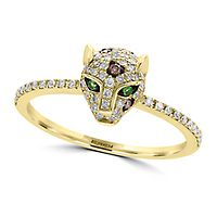EFFY® 1/3 ct. tw. Diamond & Tsavorite Garnet Panther Ring in 14K Yellow Gold